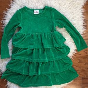 Soft Velour Green Tiered Skirt Dress 120